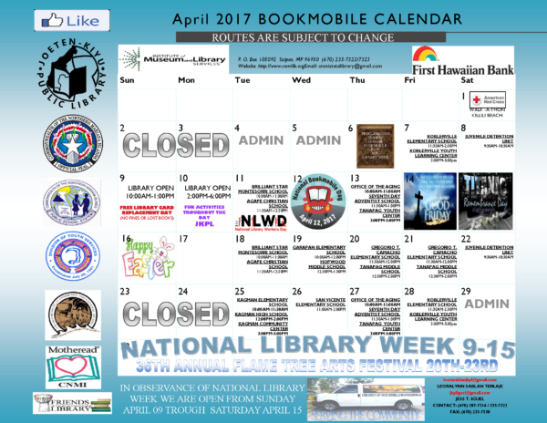 2017 April Bookmobile Schedule
