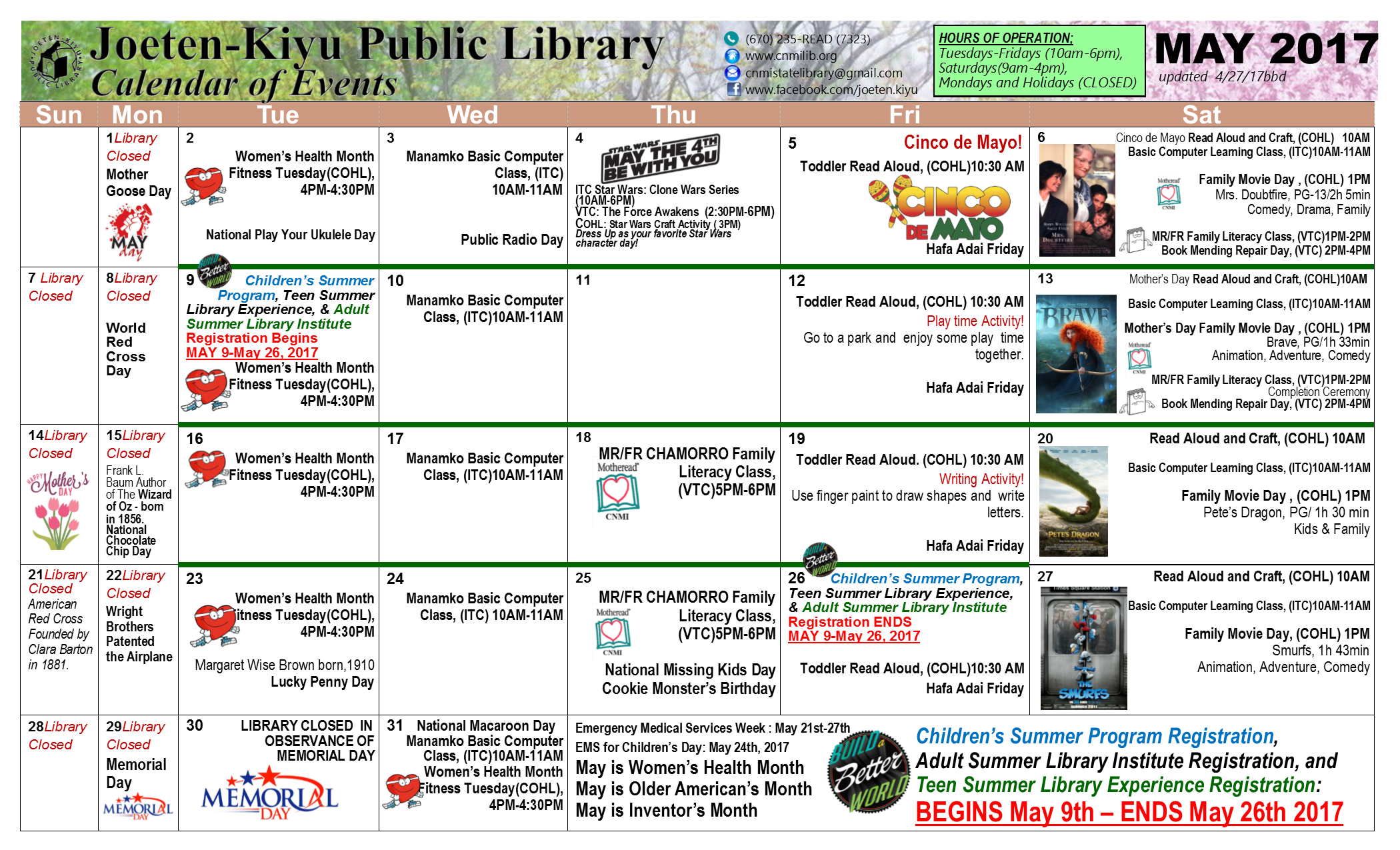 May Calendar With Events : May calendar of events joeten kiyu public library
