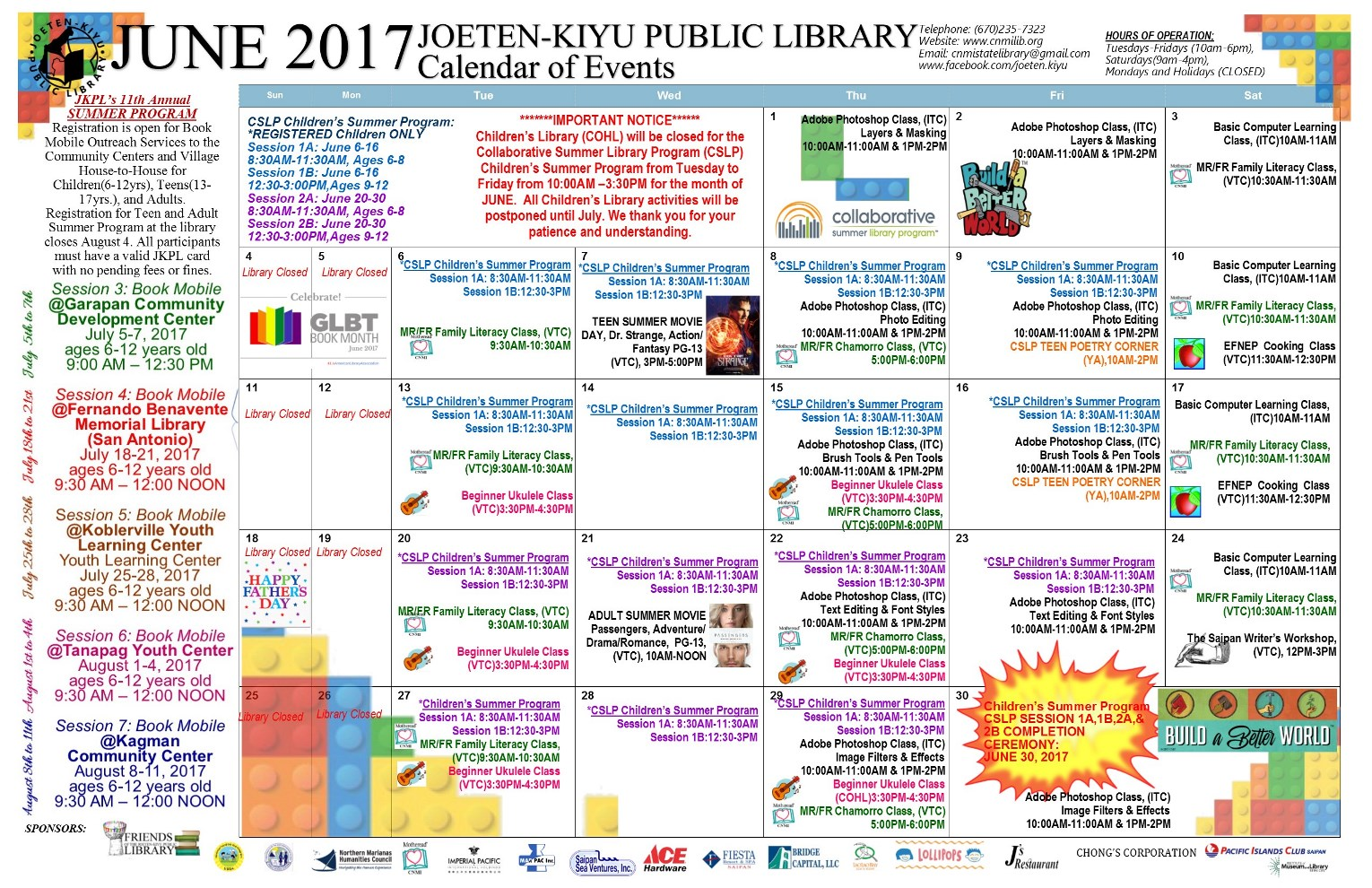 June Calendar Events : June calendar of events joeten kiyu public library